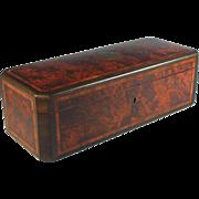 Antique Brass Trimmed Amboyna Glove Box with Satin Wood Inlays