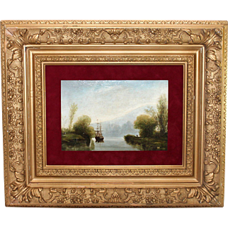 Oil on panel 19c Seascape Painting with Sailboat signed Morel