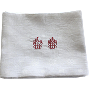 Six Antique French Monogrammed White Linen Napkins L B Plus 2 Red Monograms