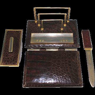 Vintage Crocodile Embossed Leather Desk Set