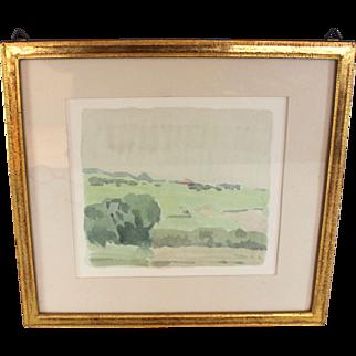 """Original Watercolor titled """"Paysage de la Cote: by listed artist Gerald Goy (1921-)"""