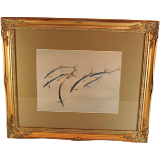 Chinese Water Color of Small Fish in Gold Frame