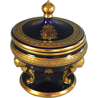 Antique French Cobalt Blue Porcelain Sucrier with Napoleon Shield & Bees