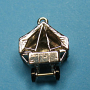Vintage Sterling Silver Enamel Vehicle Pop Up Tent Trailer Charm 1930's