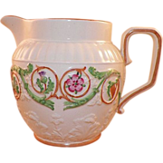 Wedgwood Pearlware Pitcher With Pink Green Garland
