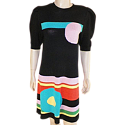 Vintage 1980's Black Wool Knit Dress With Bright Geometric Pattern