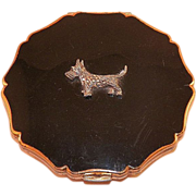 Vintage English Black Enamel Compact With Marcasite Scottie Dog