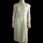 Vintage 1960's Silk Damask Cheongsam Dress By Dynasty Large Size