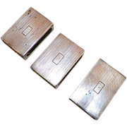 Set Of Three English Sterling Match Boxes