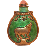 Vintage Chinese Green Enamel Snuff Bottle With Rose Quartz Top