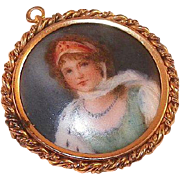 Victorian Hand Painted Gold-Filled Portrait Pin / Pendant