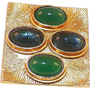 1970's Oranium Paris France Blue and Green Cabochon Pin