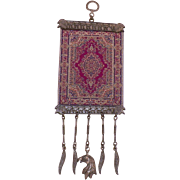 Miniature Turkish Tribal Textile and Metal Wall Hanging