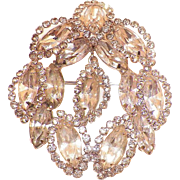 Vintage Weiss Clear Rhinestone Pin With Suspended Pendant