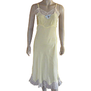 Vintage 1950' Yellow Rayon Full Slip With Lace By Superfit by Superior