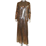 Vintage 1970's Long Gold Sequin Halter Dress and Jacket