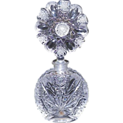 Vintage Heavy Cut Crystal Perfume Bottle With Stopper