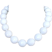 Honeycomb Faceted White Agate Choker Necklace - Blanca Necklace