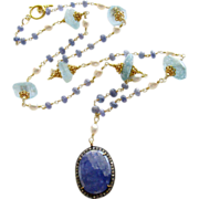 Tanzanite Pave Diamond Aquamarine Nuggets Layering Necklace- Cerelia Necklace