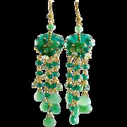 Carved Green Onyx Chrysoprase Prasiolite Chandelier Earrings - Eveleen Earrings