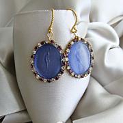 Venetian Intaglio Earrings Indigo Merlot Vintage Crystal Rhinestones - Ilaria  II Earrings