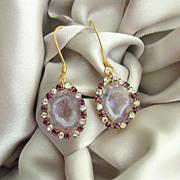 Pink Geode Druzy Earrings Vintage Amethyst Colored Crystal Rhinestone Earrings - Panisi Earrings