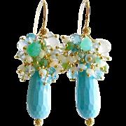 Turquoise Dyed Stone Opal Apatite Prasiolite Blue Topaz Chrysoprase Cluster Earrings - Summer Earrings