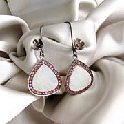 White Druzy Pink Topaz Pave Earrings - Victoria Earrings