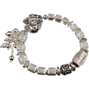 Bracelet ~ WINTER WHITE ~ Sterling Silver, Artisan Lampwork. Bali Silver