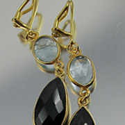 Clip-On Earrings ~ BLACK & BLUE ~ Trendy Lollipop Gemstone Style