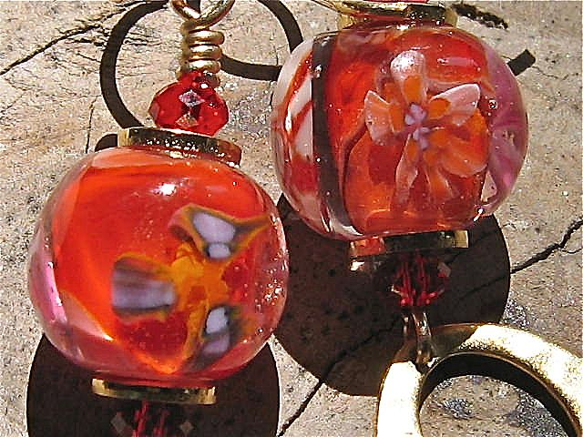 Drop Earrings ~ HEAT WAVE ~ Artisan Lampwork, Vermeil, Gold-Fill, Swarovski
