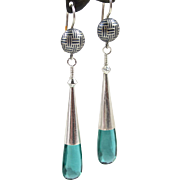 Drop Earrings ~ CASUAL FRIDAY ~ Teal Quartz, Sterling Silver