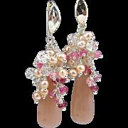 Drop Gem-Cluster Earrings ~ ENCHANTMENT ~ Peach Moonstone, Rubies, Herkimer Diamonds, CF Pearl
