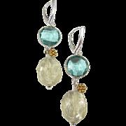 REDUCED Drop Earrings ~ HARD LEMONADE ~ Teal Quartz, Lemon Quartz, Sterling, Vermeil