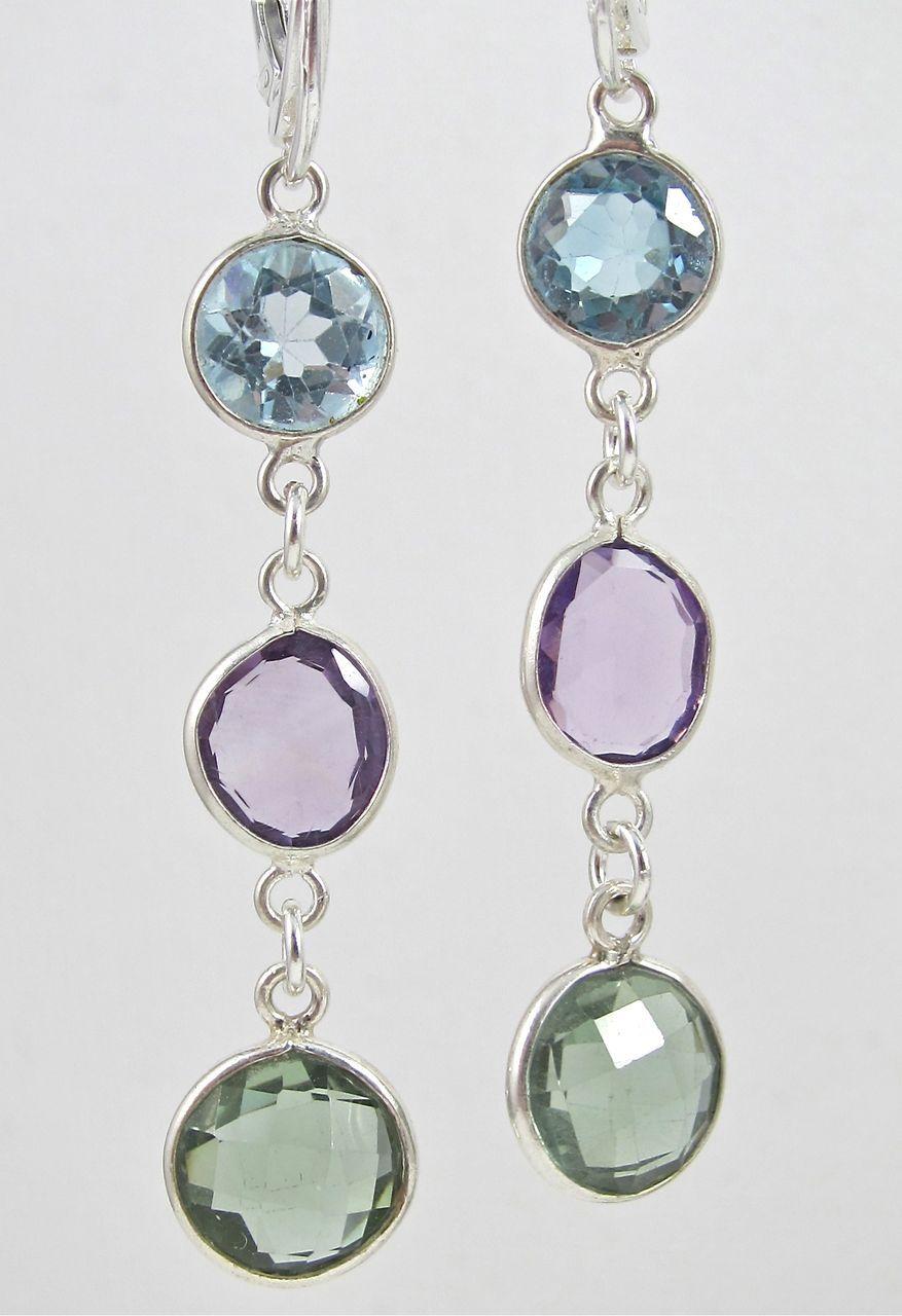 Earrings ~ SPRING SORBET ~ A trio of lollipop gemstones