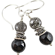 Drop Earrings ~ TWISTED SISTERS ~ Tourmalinated Quartz, Spinel, Sterling