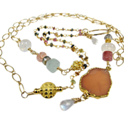"""Necklace Pendant ~  MOON KEEPERS ~ from the """"Shield Maiden"""" Collection, Angel-Skin Moonstone,  Rainbow Moonstone, Sunstone, Gold-Fill, Tourmaline, Aquamarine"""