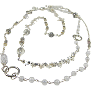 Long Necklace ~ MOONLIT CAROUSEL ~ Moonstone, Crystal Quartz, Sterling Silver