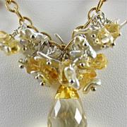 Necklace ~ SPUN SUGAR ~ Akoya Pearls, Citrine, Gold-Fill