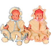 """Occupied Japan Celluloid Baby Doll Boy and Girl Twins, Asakusa, 6"""" Tall"""