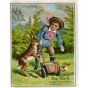 Victorian Trade Card White Sewing Machine Co Easter Bunny Boy Egg Hunt