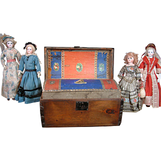 SALE Remarkable Napolean III Era Solid Pine Trunk With Square Nails and Decoupage For French Fashion Poupee or Enfantine C. 1855