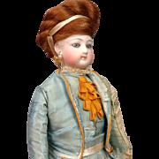 "Petite 11"" All Original Jumeau Poupee Peau Fashion Doll in Original Dress"