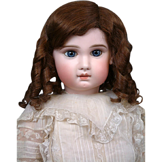 SALE Enchanting French Antique Human Hair Wig For Size 13 Bebe
