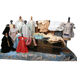 SALE Large C. 1875 Doll Trunk Filled With Antique Doll Clothing
