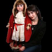 "Huge 33"" Jumeau Bebe In Classic Antique Costume~Near Mint Body!"