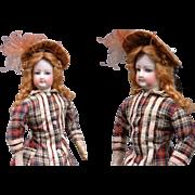 "Perfect 15.5"" Jumeau French Fashion Poupee Doll With Original Dress Plus Antique Winter Ensemble"
