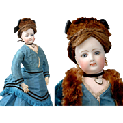 """All Original 17.5"""" Poupee By Jumeau With Sumptuous Lips C. 1870"""