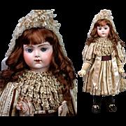 """27"""" All Original Bru Jne  R 12 In Wool & Silk Gown With Original Bru Bebe Corset!"""