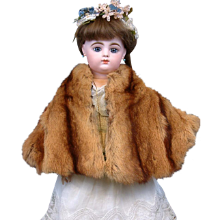 Alluring Caramel to Butterscotch Mink Cape with Interior Embroidered Monogram c.1905-1910